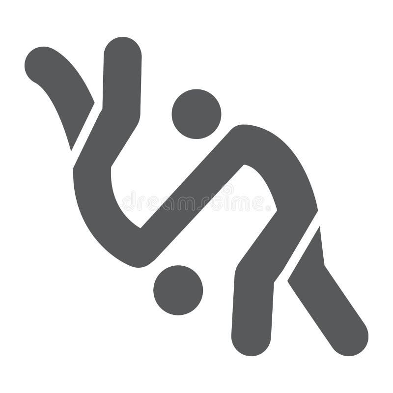 Judo Glyphikone, Sport und Kampf, Karatezeichen, Vektorgrafik, ein festes Muster auf einem weißen Hintergrund stock abbildung