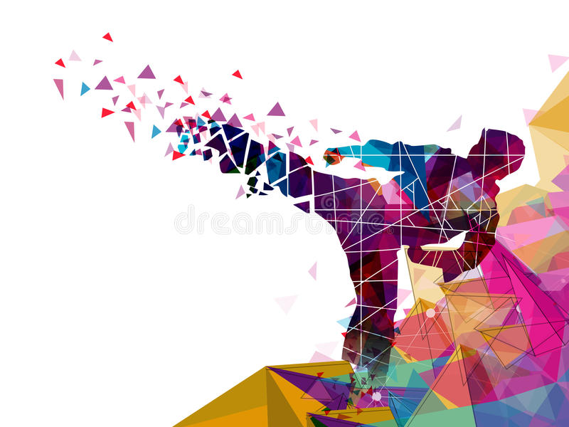 Judo Karate Fighter for Sports concept. Creative illustration of Judo Karate Fighter made by colorful abstract design for Sports concept royalty free illustration