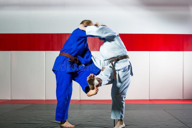 Judo op tatami stock foto's
