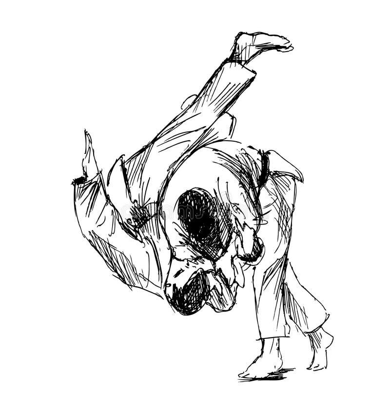 Judo que lucha del bosquejo de la mano ilustración del vector