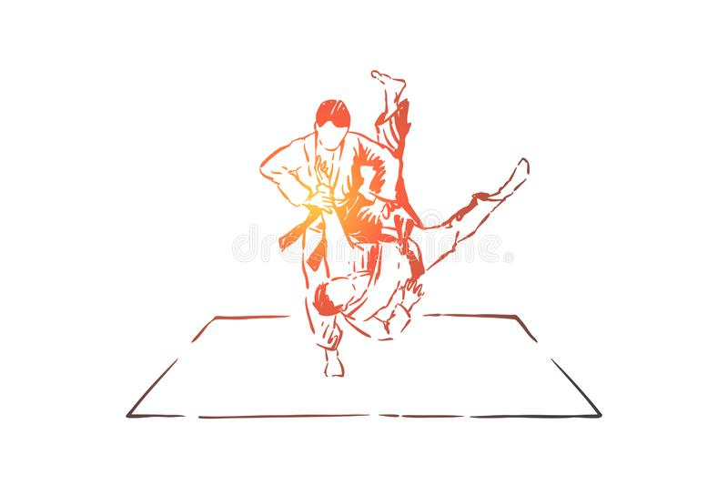 Judo sparring, young men in kimono with belts, faceless athletes, combat practice, self defence exercise. Japanese martial arts, sport training concept sketch vector illustration