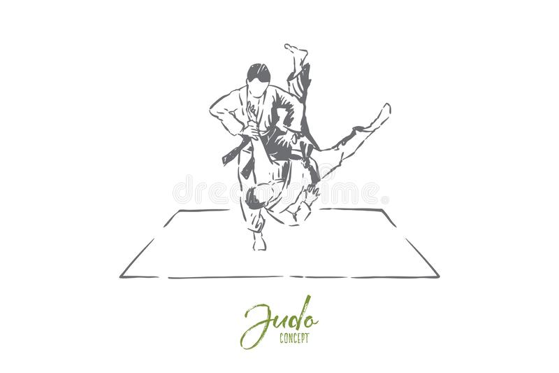Judo sparring, young men in kimono with belts, faceless athletes, combat practice, self defence exercise. Japanese martial arts, sport training concept sketch stock illustration