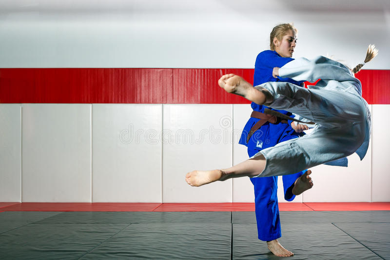 Judo sur le tatami photo stock