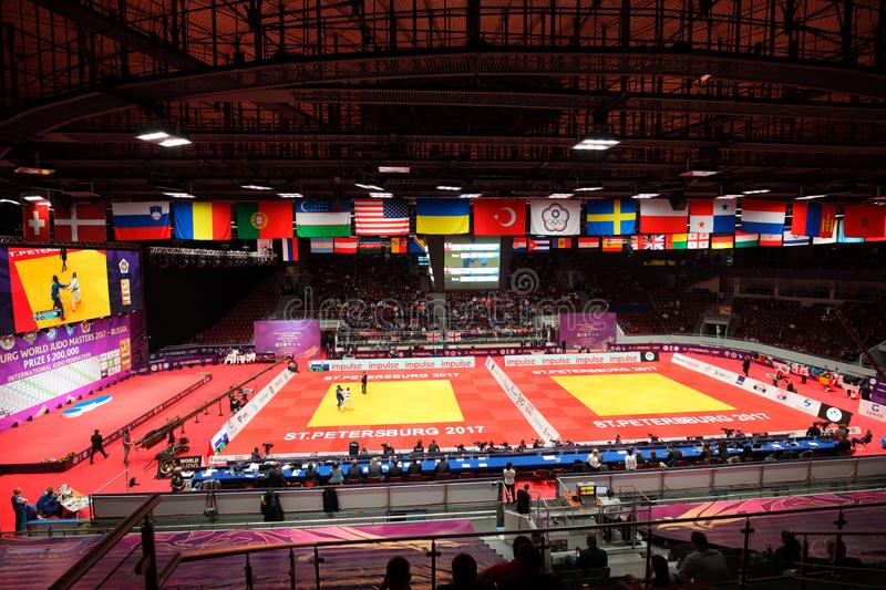 Judo World Masters 2017 in St. Petersburg. St. Petersburg, Russia - December 17, 2017: People in the Sport Palace Yubileiny during Judo World Masters 2017. It is royalty free stock photography