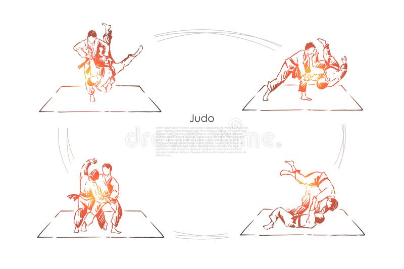 Judo, young athletes in kimono training, sparring practice, combat exercise, self defence class banner. Oriental martial arts, sport activity concept sketch stock illustration