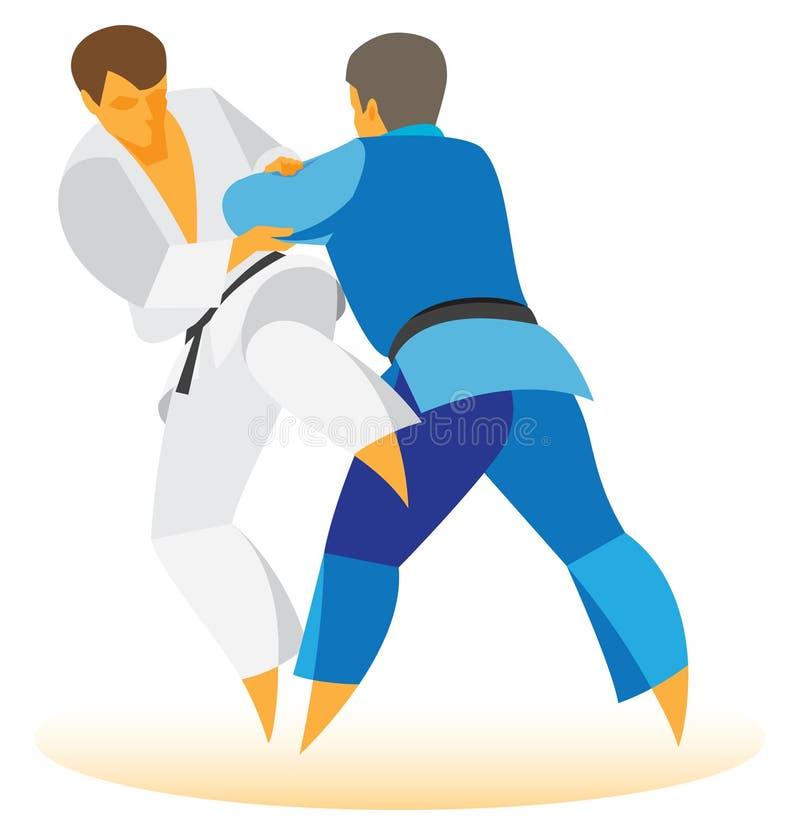 Judoidrottsman nen förbereder sig att utföra haka för kast stock illustrationer