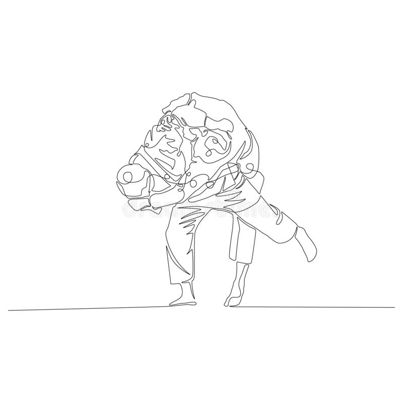 Judoka gör ett skott till och med honom den fortlöpande linjen teckning r stock illustrationer