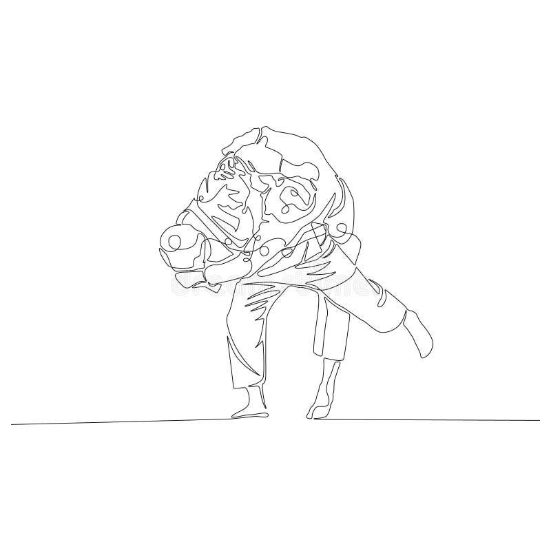 Judoka makes a shot through himself continuous line drawing. New minimalism. stock illustration