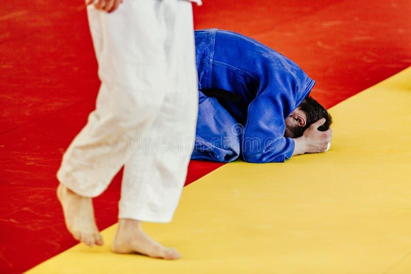 Judoka van de nederlaagvechter royalty-vrije stock afbeeldingen