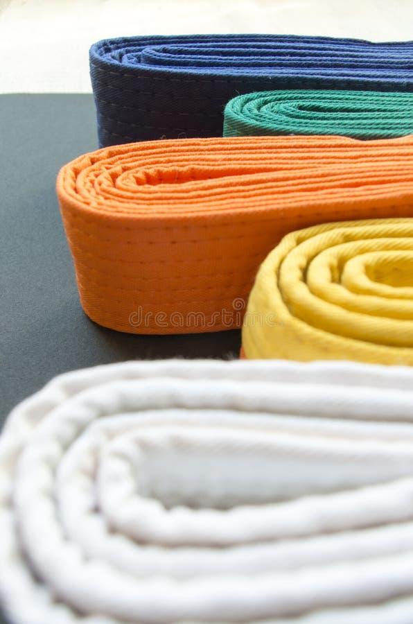 Judon och karate färgade bälten arkivfoton