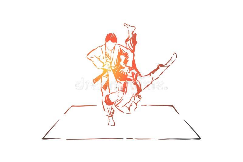 Judon som munhuggas, unga män i kimono med bälten, ansiktslösa idrottsman nen, stridövning, själv - försvarövning vektor illustrationer