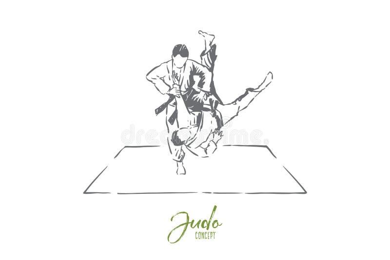 Judon som munhuggas, unga män i kimono med bälten, ansiktslösa idrottsman nen, stridövning, själv - försvarövning stock illustrationer