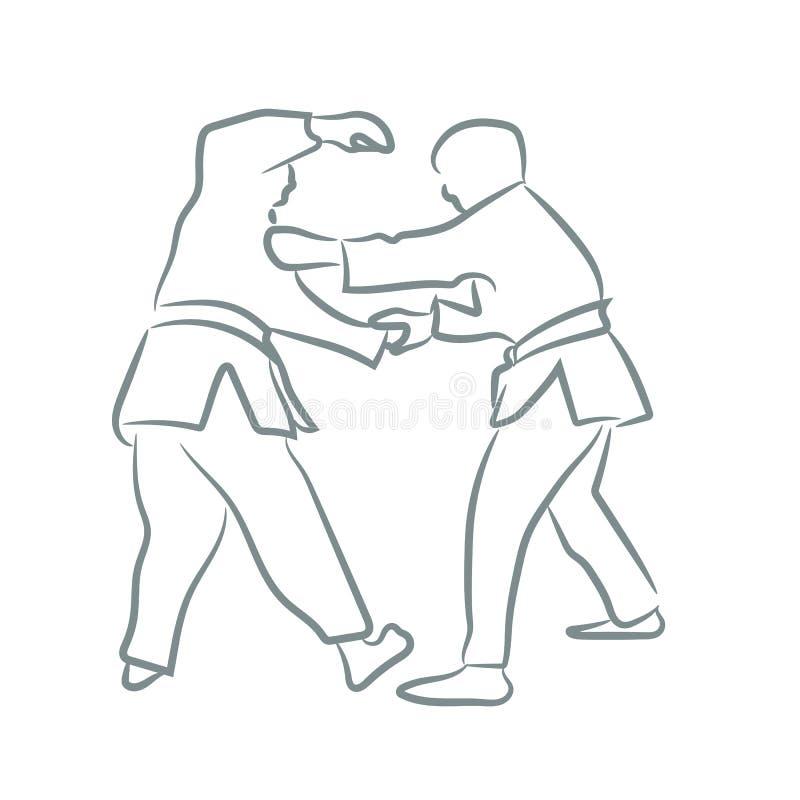 Judosymbool of embleemsilhouet met de stijl van de lijnkunst De vectorillustratie van het schetsontwerp stock illustratie