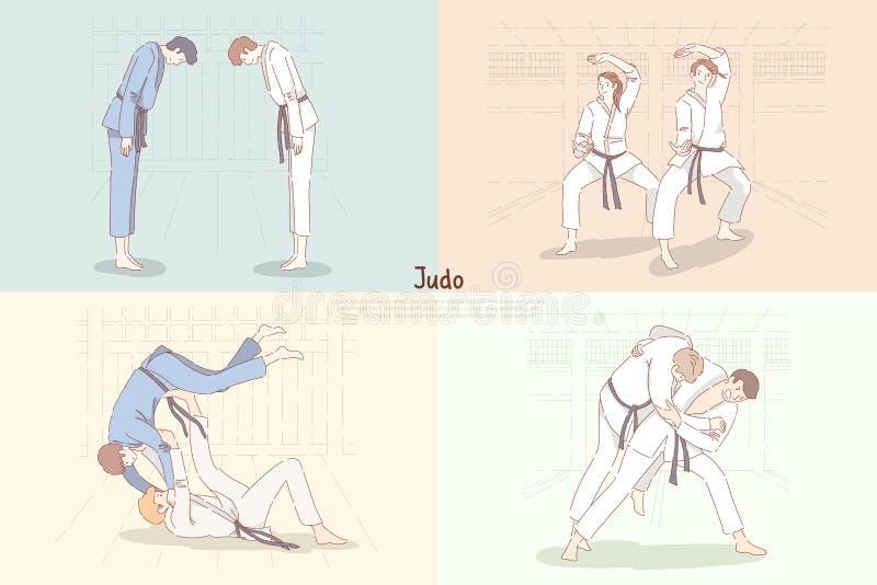 Judoutbildning, unga studenter i kimono bugar ner, den övande footboarden och kastet, orientaliskt kampsportbaner vektor illustrationer