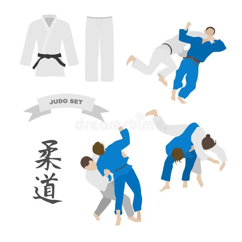 Judovektoruppsättning Kimono och kast vektor illustrationer