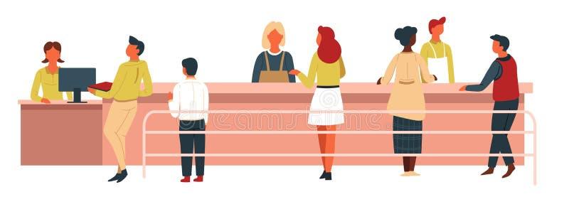 Jueces de línea y mujeres la cantina con las bandejas cajero automático y contador ilustración del vector