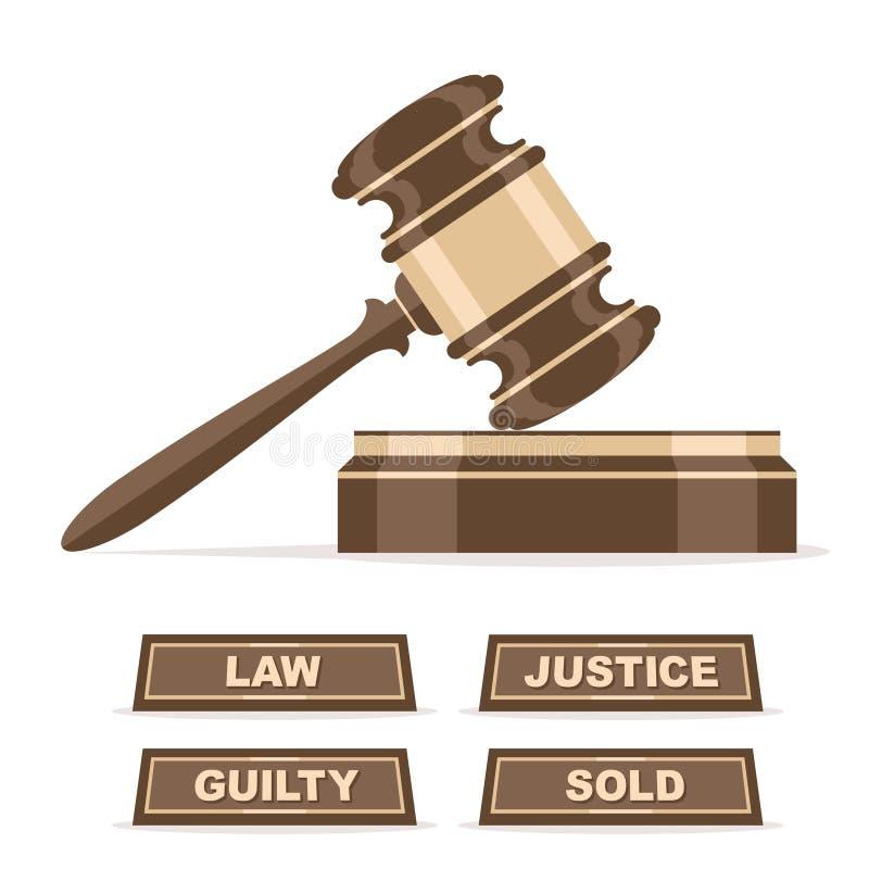 Jueces mazo o martillo de la subasta stock de ilustración