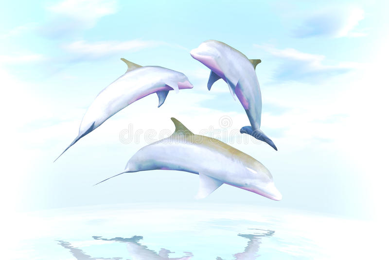Juego alegre, la familia de delfínes contra olas oceánicas stock de ilustración