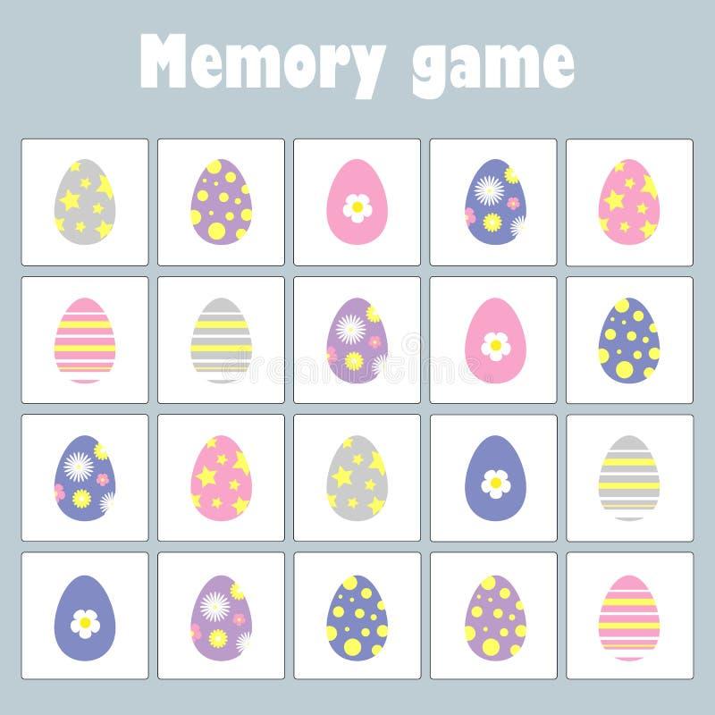 Juego con el tema de pascua de las imágenes para los niños, juego para los niños, actividad preescolar, tarea de la memoria de la stock de ilustración