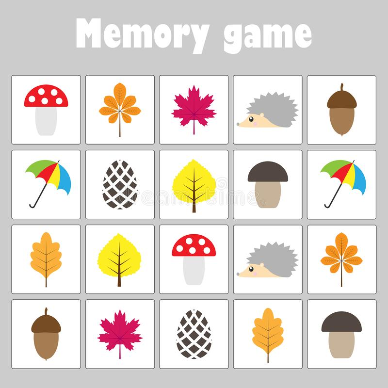 Juego con el tema del otoño de las imágenes para los niños, juego para los niños, actividad preescolar, tarea de la memoria de la ilustración del vector