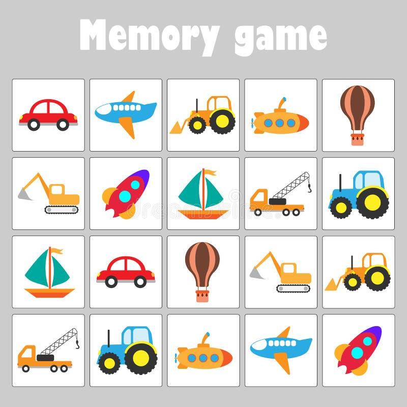 Juego con las imágenes - diverso transporte para los niños, juego para los niños, actividad preescolar, tarea de la memoria de la ilustración del vector
