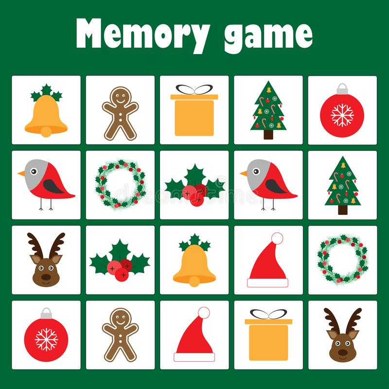 Juego con las imágenes - tema para los niños, juego para los niños, actividad preescolar, tarea de la memoria de la Navidad de la ilustración del vector