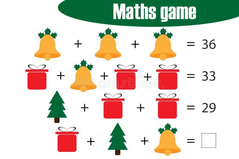 Juego con las imágenes - tema para los niños, nivel medio, juego para los niños, actividad preescolar de la matemáticas de Navida stock de ilustración
