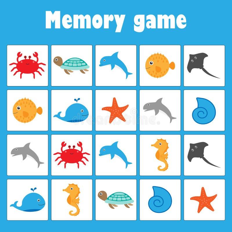 Juego con los animales del océano de las imágenes para los niños, juego para los niños, actividad preescolar, tarea de la memoria libre illustration