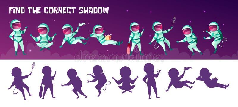 Juego correcto del niño de la sombra del vector con los astronautas ilustración del vector