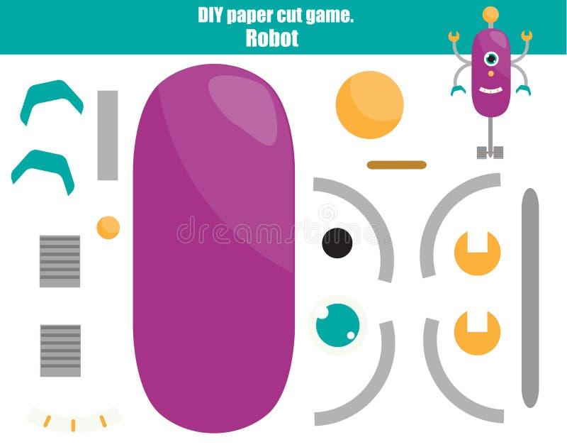 Juego creativo educativo de los niños de DIY Haga un robot con las tijeras y el pegamento Actividad de Paprecut Tutorial imprimib libre illustration