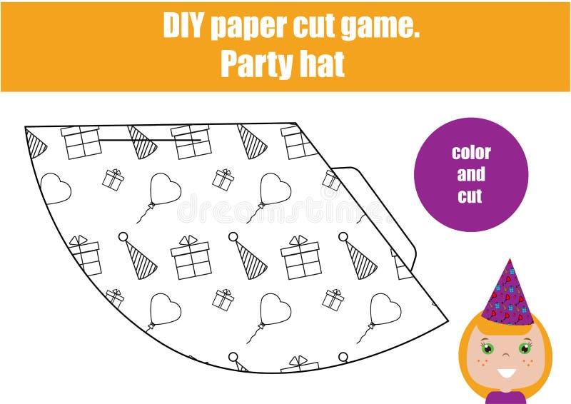 Juego creativo educativo de los niños de DIY Haga un sombrero del partido ilustración del vector