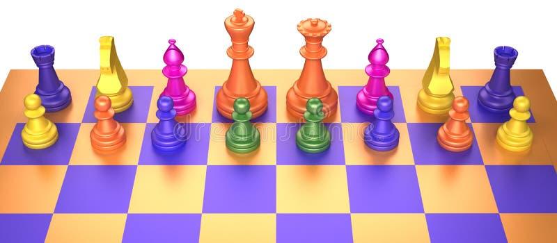 Juego de ajedrez coloreado en el fondo blanco ilustración del vector