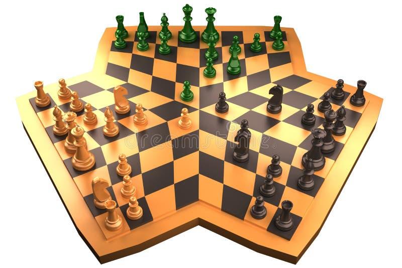 Juego de ajedrez de tres vías aislado en el fondo blanco ilustración del vector