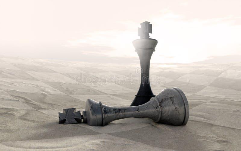Juego de ajedrez del desierto encima stock de ilustración