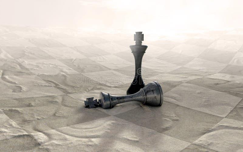 Juego de ajedrez del desierto encima ilustración del vector
