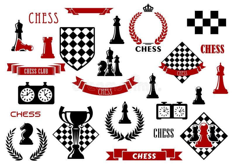 Juego de ajedrez y elementos heráldicos del diseño ilustración del vector