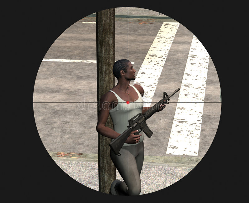 Juego de arcada video violento. francotirador ilustración del vector