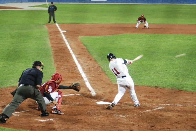 Juego de béisbol de E.E.U.U.-Venezuela fotografía de archivo