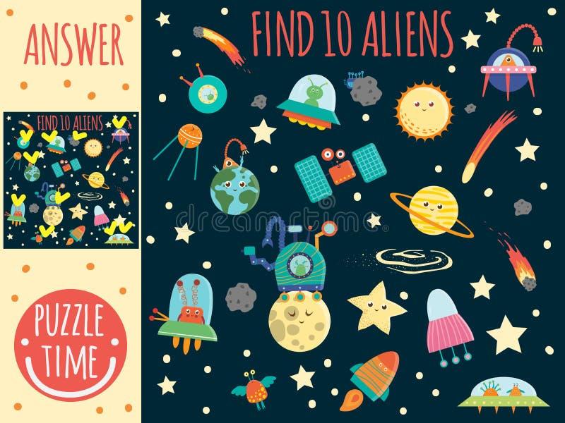 Juego de búsqueda para los niños con los planetas, los extranjeros y el UFO ilustración del vector