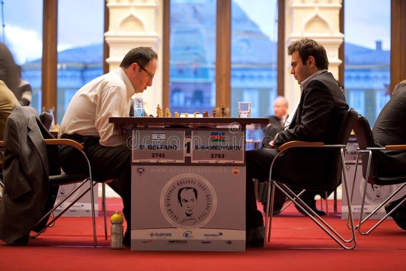 Juego de B.Gelfand y de S.Mamedjarov fotos de archivo