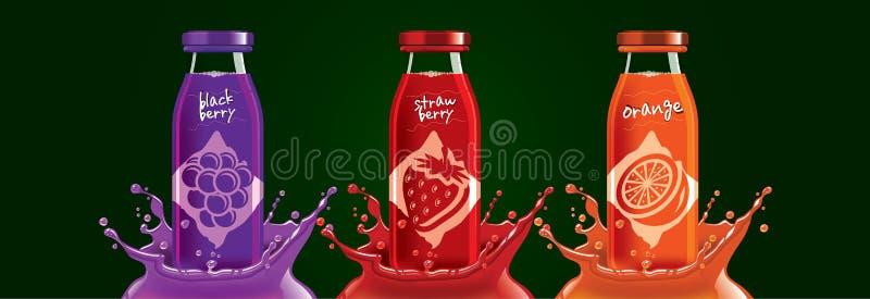 Juego de botellas de jugo de frutas, moras, fresa, diseño de pegatinas de naranja fotografía de archivo libre de regalías