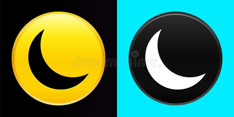 Juego de botones exclusivo de icono de media luna creciente stock de ilustración