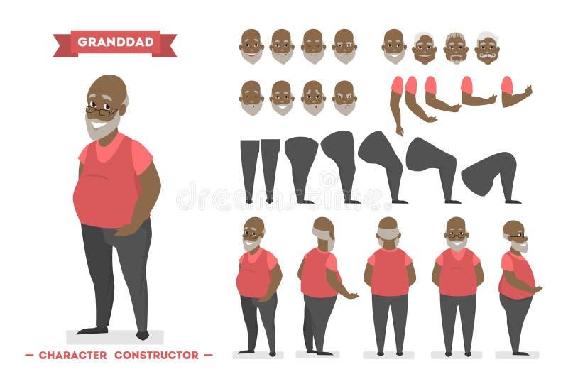 Juego de caracteres afroamericano viejo del hombre para la animación stock de ilustración