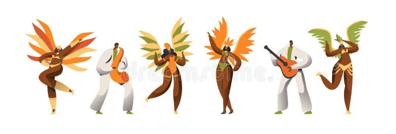 Juego de caracteres brasileño del bailarín del carnaval Danza de la mujer en traje exótico de la pluma en Rio de Janeiro Holiday  stock de ilustración