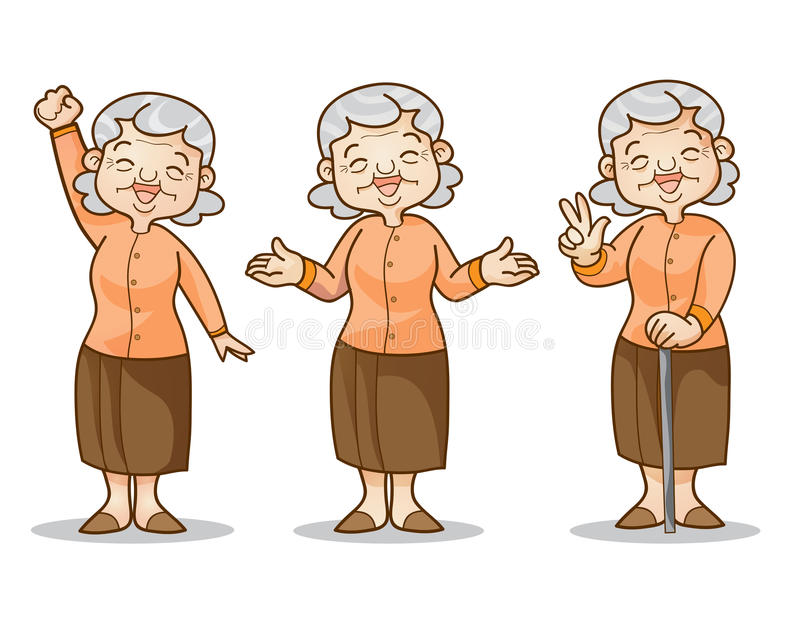 Juego de caracteres de la historieta de la mujer mayor ilustración del vector