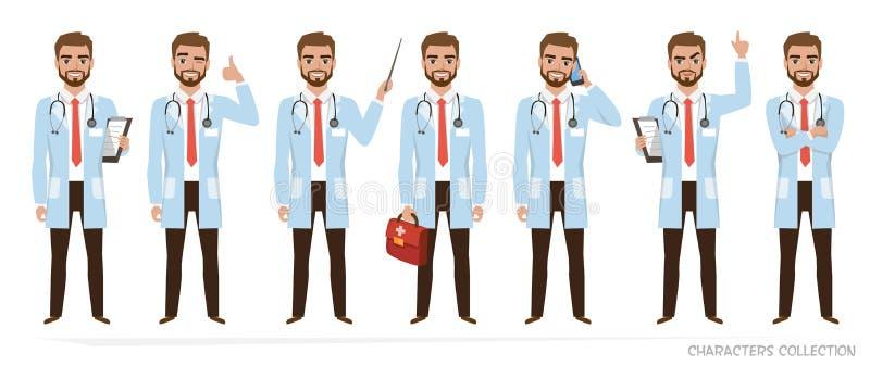 Juego de caracteres del doctor de actitudes libre illustration