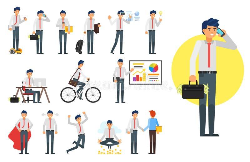 Juego de caracteres del hombre de negocios ilustración del vector