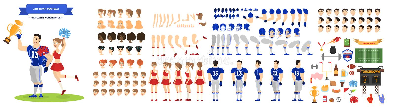 Juego de caracteres del jugador y de la animadora del fútbol americano stock de ilustración