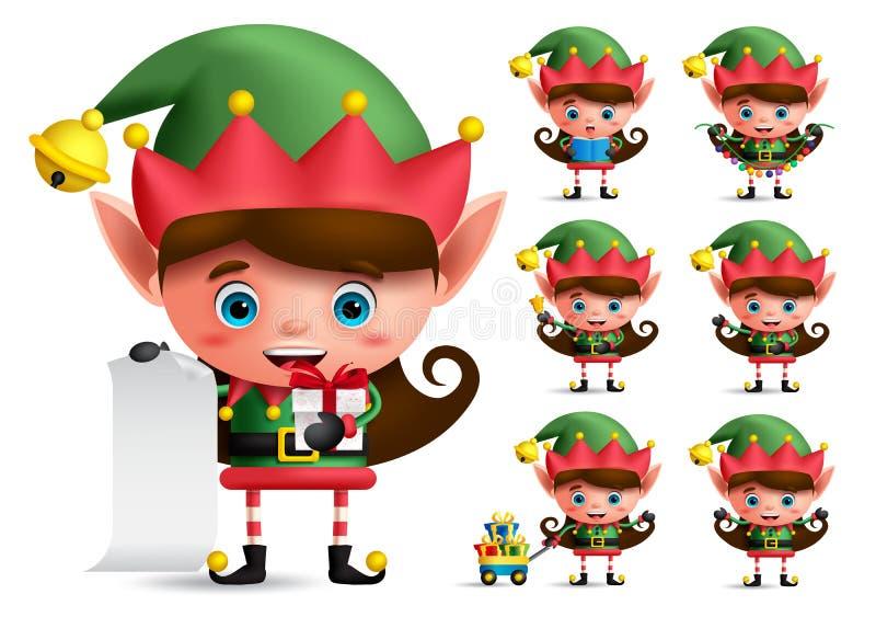 Juego de caracteres del vector del duende de la Navidad Duendes de la muchacha con el traje verde que sostiene los regalos ilustración del vector