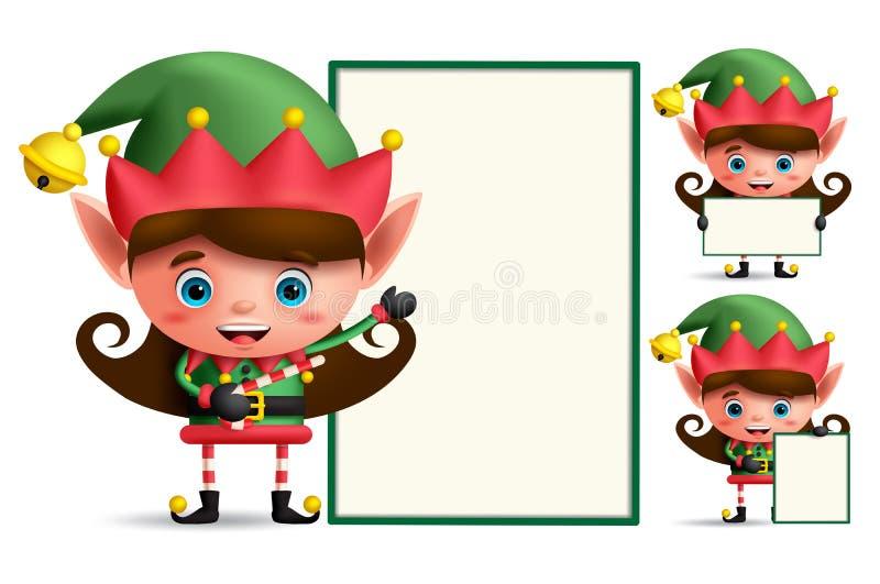 Juego de caracteres del vector del duende de la Navidad de la muchacha que lleva a cabo al tablero blanco vacío ilustración del vector